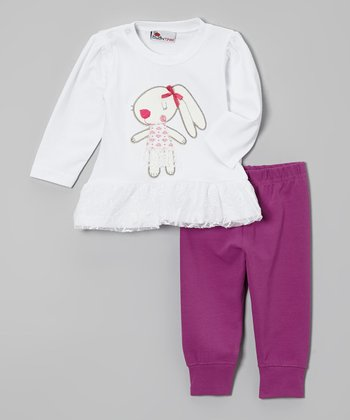 White Dog Ruffle Tee & Purple Leggings - Infant