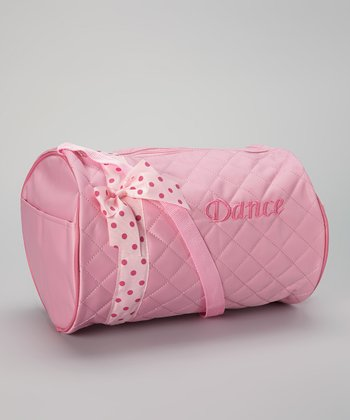 Light Pink Polka Dot 'Dance' Barrel Bag