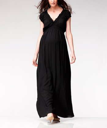 Black Jess Shirred Maternity Maxi Dress