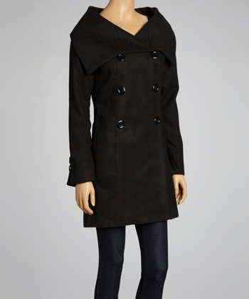 Black Funnel Collar Peacoat - Women