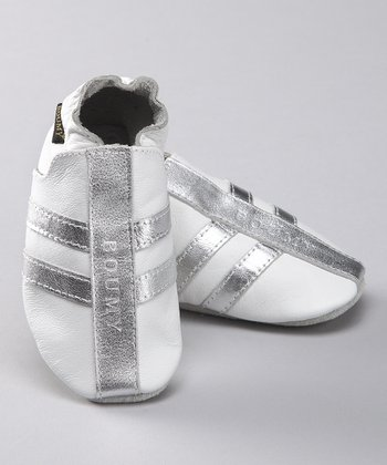 White Stripe Leather Jogging Booties