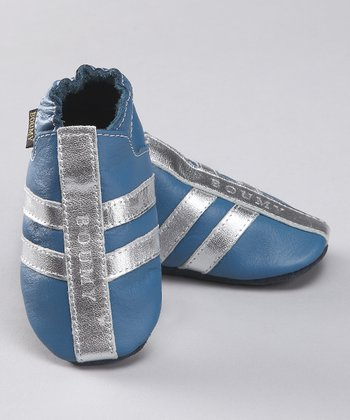 Cobalt Stripe Leather Jogging Bootie