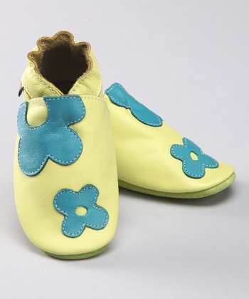 Lime Flower Power Leather Booties