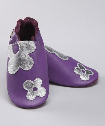 Purple Flower Power Leather Booties