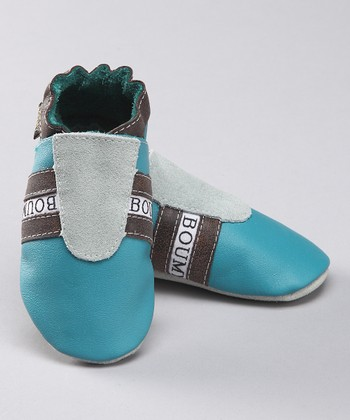 Turquoise Leather Track Booties