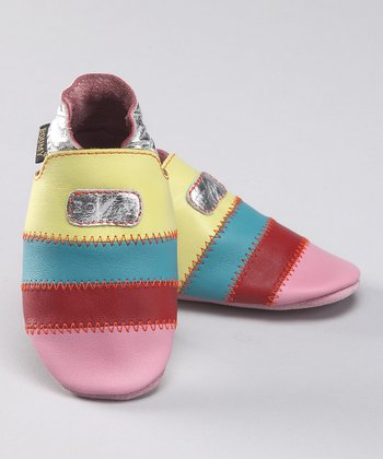 Pink & Yellow Stripe Leather Booties