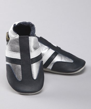 Navy & Silver Stripe Leather Bootie