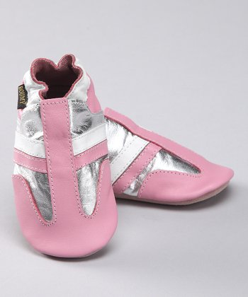 Pink & Silver Stripe Leather Booties