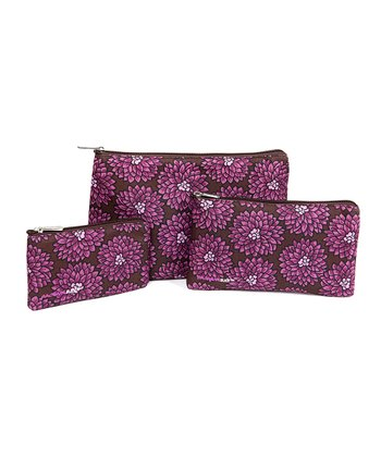 Bright Plum Mums Catchall Pouch Set