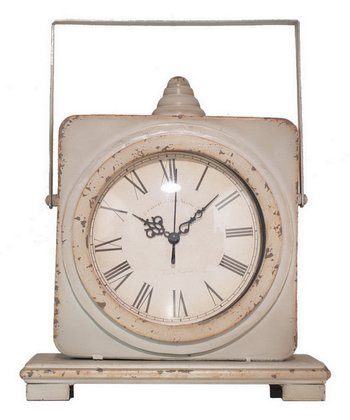 Ivory White Table Top Clock