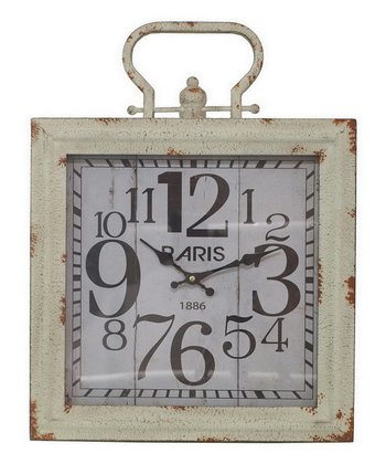 Ivory White Metal Wall Clock
