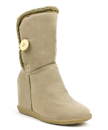 Sand Button Tom Wedge Boot