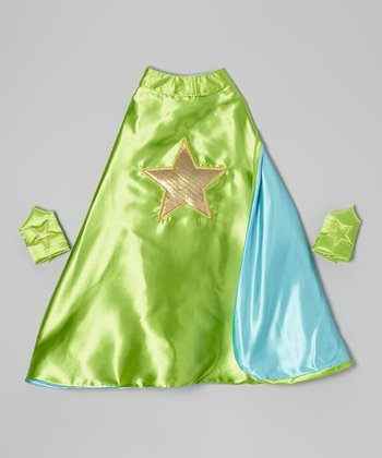 Green & Gold Star Reversible Cape & Cuffs