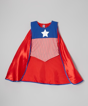 Red & Blue Star American Hero Smocked Cape