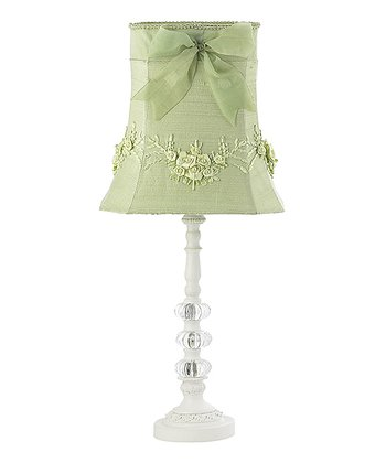 White & Green Floral Table Lamp