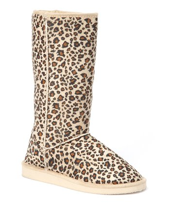 Beige & Brown Leopard Boot