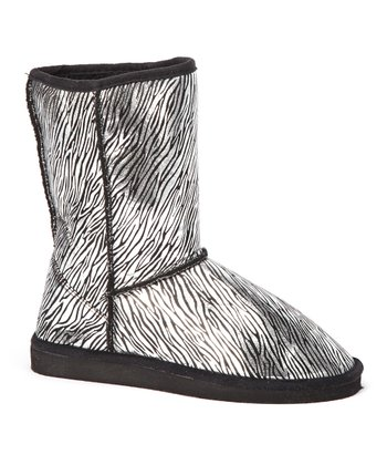 Silver & Black Zebra Boot