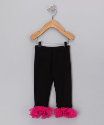 Black & Fuchsia Ruffle Leggings - Infant, Toddler & Girls