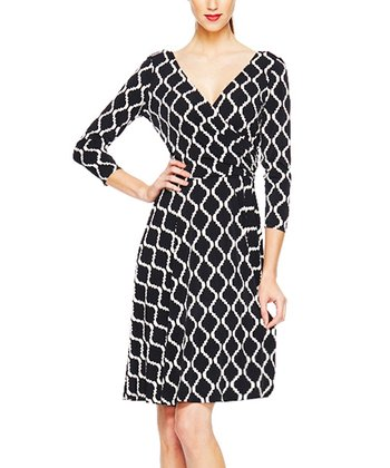 Black Geometric Wrap Dress