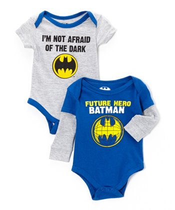 Blue & Gray Batman Bodysuit Set - Infant