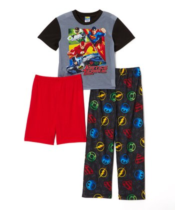 Gray 'Justice League' Pajama Set - Boys