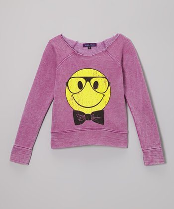 Purple Pixies Orchid Smiley Face Top
