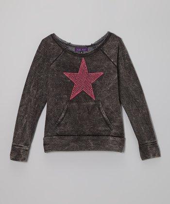 Purple Pixies Black & Pink Star Sweatshirt