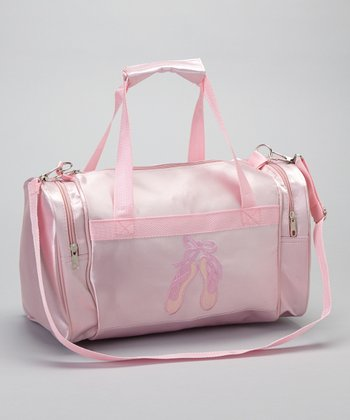 Pink Embroidered Ballet Slipper Satin Duffel Bag