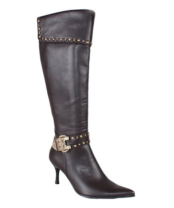 Brown Buckle Studded Boot
