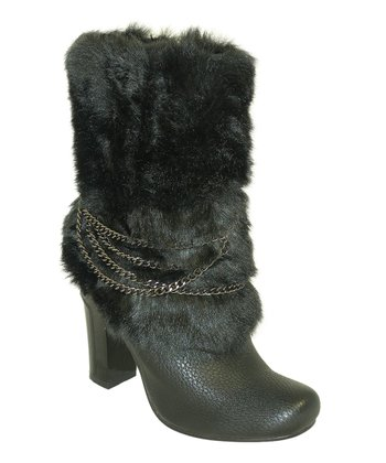 Black Chain-Wrapped Faux Fur Boot