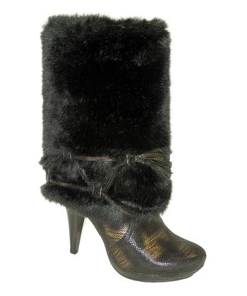 Black Metallic Faux Fur Boot