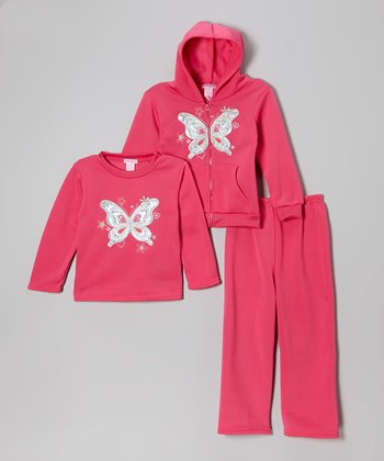 Pink Butterfly Fleece Zip-Up Hoodie Set - Infant, Toddler & Girls