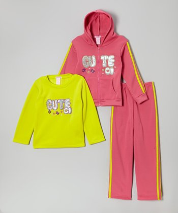 Pink 'Cute' Fleece Zip-Up Hoodie Set - Infant, Toddler & Girls