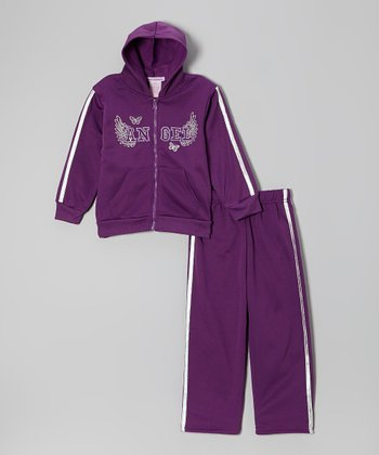 Purple 'Angel' Fleece Zip-Up Hoodie & Pants - Infant & Toddler