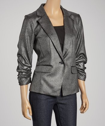 Silver & Black Faux Leather Blazer