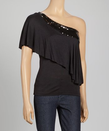 Black Sequin Asymmetrical Top