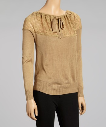 Nancy Yang Camel Lace Ribbon Scoop Neck Top