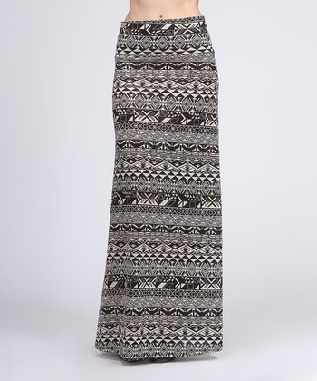 Ivory & Black Tribal Maxi Skirt