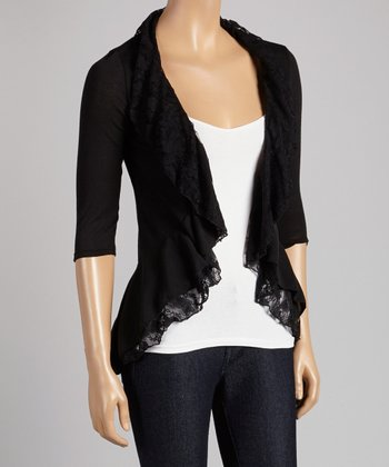 Black Ruffle Lace-Trim Open Cardigan