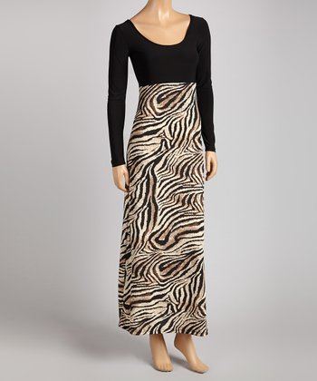 Brown Tiger Scoop Neck Maxi Dress