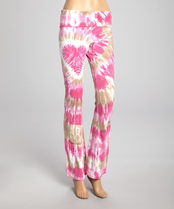 Raspberry Kiss Heart Tie-Dye Yoga Pants - Women