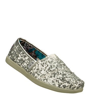 Silver World Glitter Love Slip-On Shoe