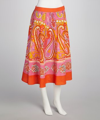 Fuchsia Paisley Skirt - Women