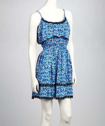 Blue & Black Lace Abstract Dress
