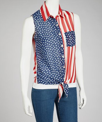 Red & Blue Americana Tie-Front Top