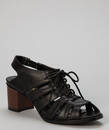 Black Wendy Strap Peep-Toe Sandal