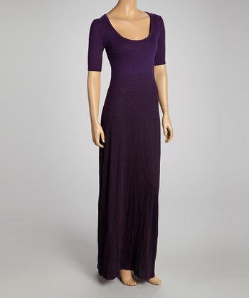 Royal Plum Dip Dye Scoop Neck Maxi Dress