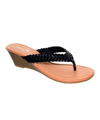 Black Braided Kava Wedge Sandal