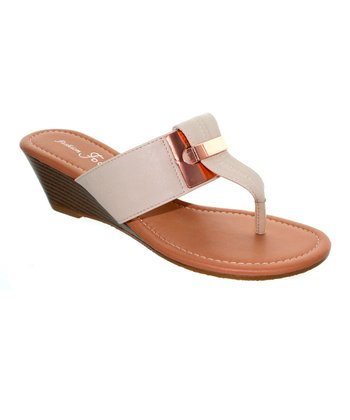 Natural Metal Accent Kava Wedge Sandal