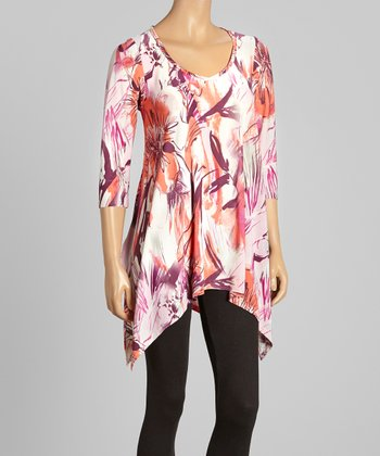 Coral & Lilac Floral Brushstroke Sidetail Tunic - Women & Plus